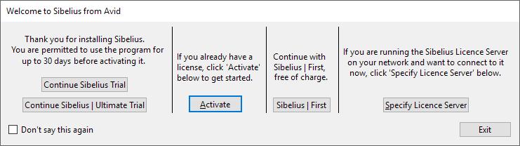 e2b4c4af I nedenstående vindue vælger man, om man vil prøve Sibelius eller Sibelius  | Ultimate i 30 dage, eller om man vil aktivere en licens.
